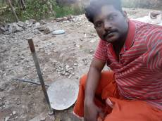 Abhilash Nandu at the site of his proposed home